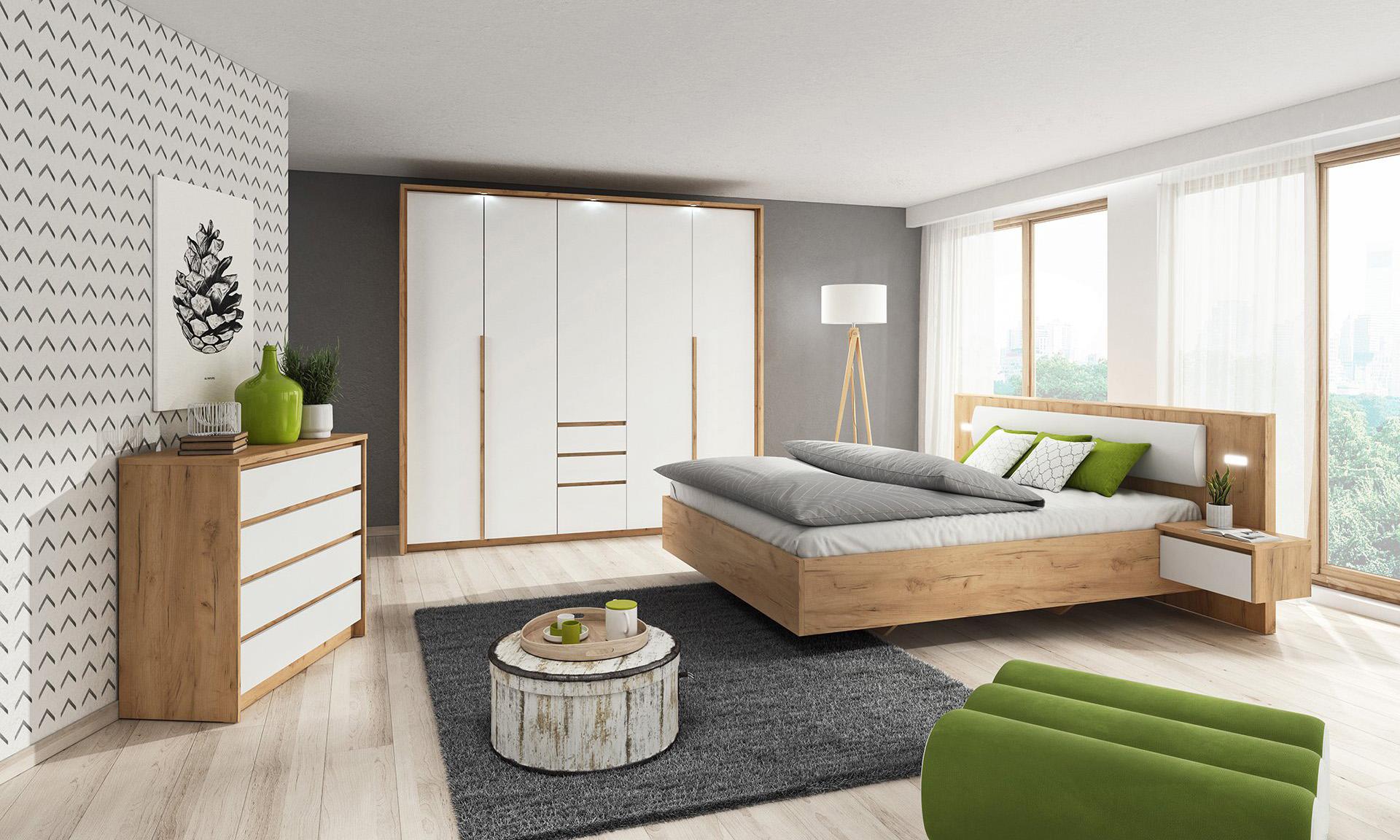 Sypialnia Kselo- biały/dąb złoty craft