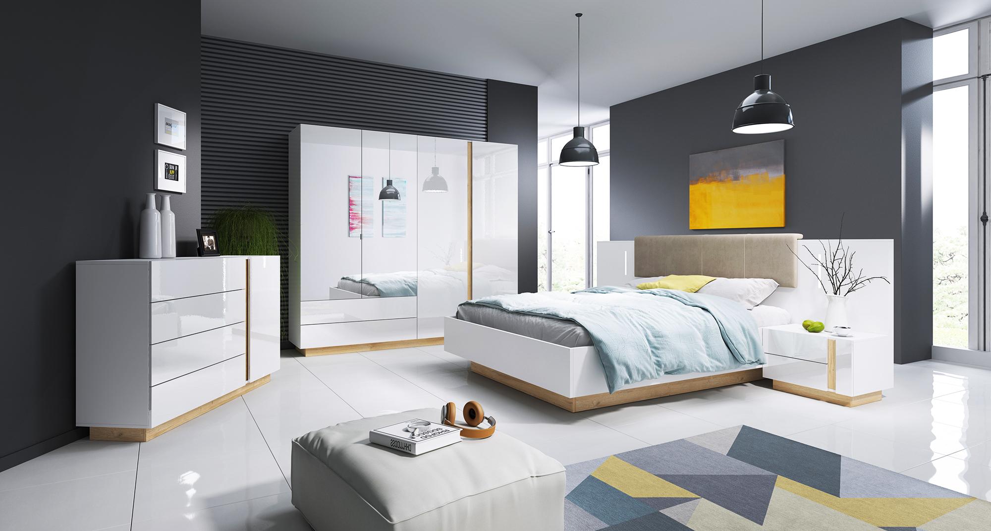 Sypialnia Arko -biały połysk