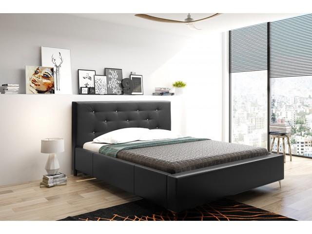Łóżko tapicerowane AGNES pod materac 160 x 200 z pojemnikiem na pościel.