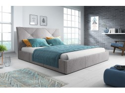 Łóżko tapicerowane KARO pod materac 140 x 200 z pojemnikiem na pościel